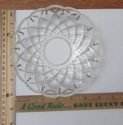 """Vintage Glass Round Scalloped 6"""" Bobeche 15 Prism Pin Hooks Lamp Chandelier Part"""