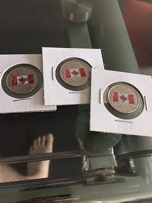 Canada 2015 Coloured Flag Quarter