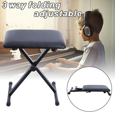 Portable PU Piano Stool Adjustable 3 Way Folding Keyboard Seat Bench Chair Black