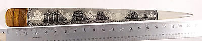 Scrimshaw Swordfish Bill Pen-And-Ink  K. Henry  Whale Ship  Balloon Tallship A60