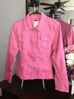 LIVE A LITTLE Girls Jacket Long Sleeve Jean Style Center Rhinestone Button Sz L