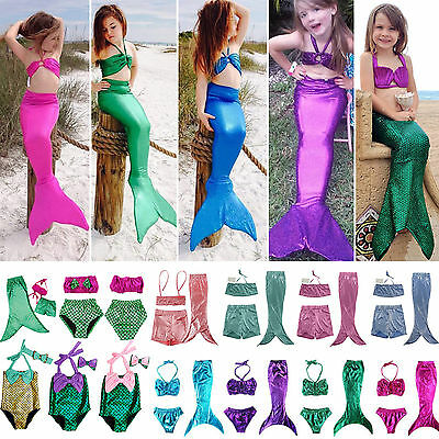 Kids Girls Swimsuit Swimmable Mermaid Tail Bikini Swimwear Beachwear Fancy Dress