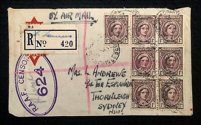1943 Registered Cover Charters Towers P/m Townsville Raaf Censor Acf Ymca Ww2