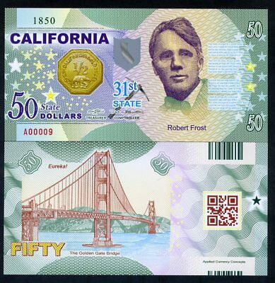 USA States, California, $50, Polymer, ND (2017), Robert Frost