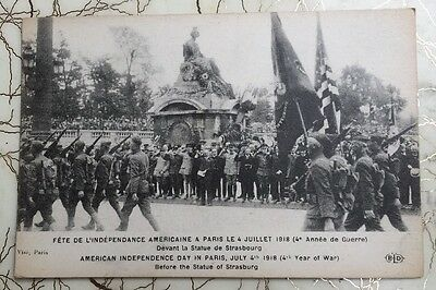 American Independence Day Parade Paris July 4 1918 Statue of Strasbourg postcard