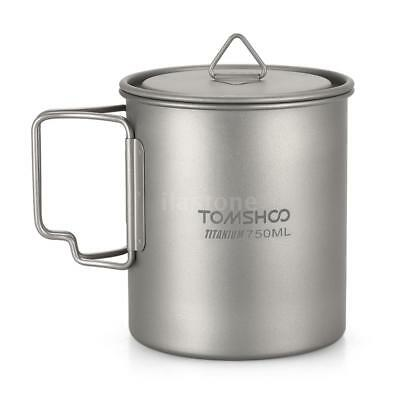 TOMSHOO Ultralight Outdoor Titanium Cup with Handle Camping Mug Lid 750ml J8J4