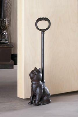 LONG HANDLE rustic CAT kitten CAST IRON metal country statue door stop stopper
