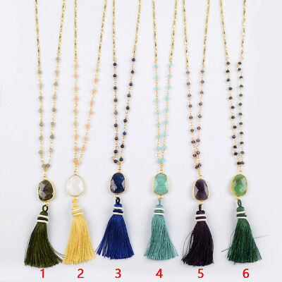 "5Pcs 29"" Mixed Natural Stone Quartz 4mm Bead Tassels Necklace Gold Plated BG1416"