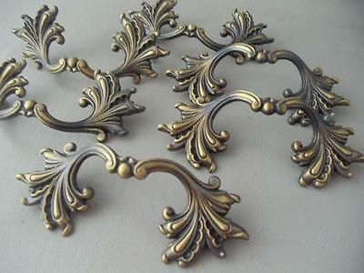 Vtg Lot Cast Brass French Provincial Drawer Pull Handle Hardware Set