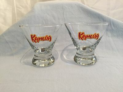 Lot of 2 KAHLUA ROCK COCKTAIL glasses Red and Gold logo CONE TAPER SHAPED 8 oz.