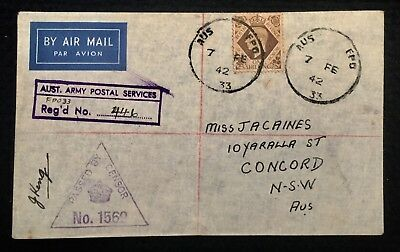 1942 Registered Cover Aust Fpo 33 Middle East P/m Crown Censor Uk Kgvi Stamp Ww2