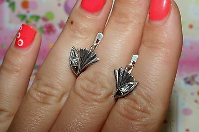 Soviet USSR AWESOME Fianit Vintage EARRINGS SILVER 925 Russian RARE Antique