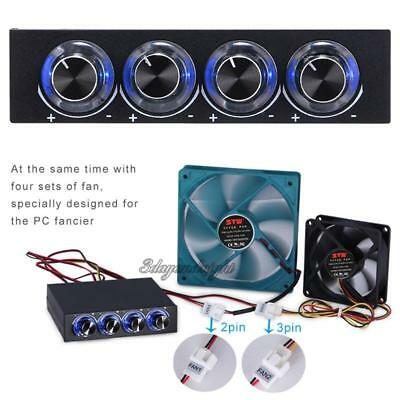 STW-6002 PC Computer 4 Channel Speed Fan Controller with Blue LED GDT Controller