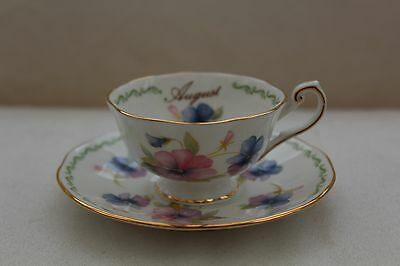 Vintage Queens China Pansy Tea Cup and Saucer - August