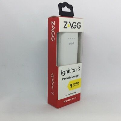 ZAGG Ignition 3 Portable Charger 3000mAh 2.1A Rapid Charging Power Bank White SZ