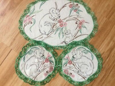Cute Duches Set with Koalas gum leaves and blossoms