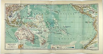 Original 1888 Map of Oceania by Meyers