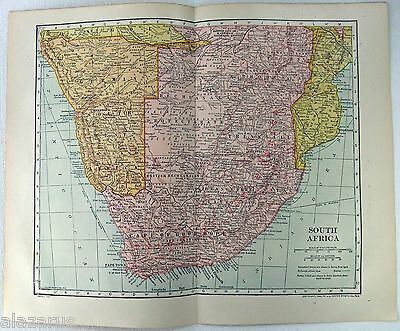 Original 1910 Map of South Africa & German SW Africa by L. L Poates