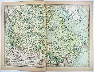 1897 Map of The Dominion of Canada by The Century Company. Original Antique Map