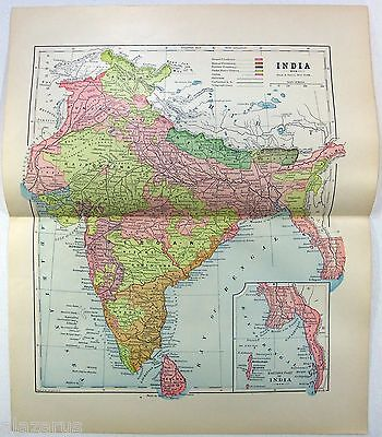 Original 1891 Map of India by Hunt & Eaton