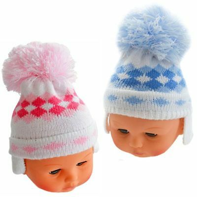 Baby Boys Girls Knitted Small Woven Pom Pom Hat 0-12 Months SALE!!!!!