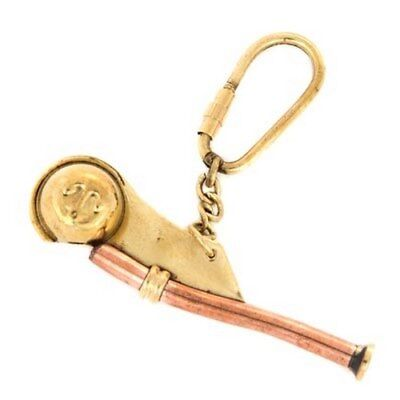 Brass Boatswain Whistle Key Chain Decorated With Anchor Working Reproduction