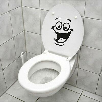 Smiley Face WC Toilet Decal Wall Mural Art Decor Funny Bathroom Sticker Vinyl DS