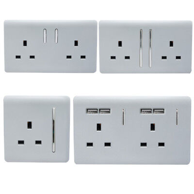 Trendi Switch Modern Designer Silver Designer Plug Sockets, Single, Double & USB