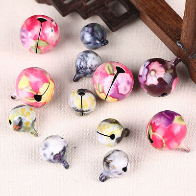 10pcs China-Wind Printed Flower Copper Jingling Bells Charming Jewelry Findings