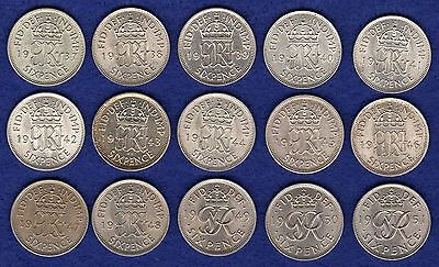 GB, George VI, Sixpence, 6d, 1937-51, Complete Set, Excellent Grade (Ref. t0446)