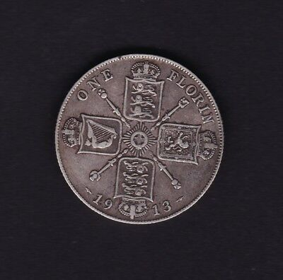 1913 Great Britain UK George V Florin Silver Coin