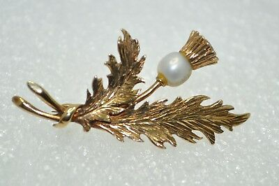 9ct Gold & Pearl Thistle Shaped Brooch -  London 1981 - Sublime!