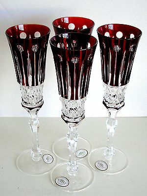 4 Ajka  Xenia Ruby Red Cased Cut To Clear Champagne Flute Flutes
