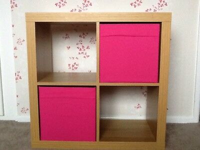Ikea Oak Effect Shelving / Storage Unit With 2 Pink Pull Out Boxes VGC
