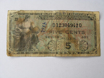 5 Cent,Military Payment Certificate
