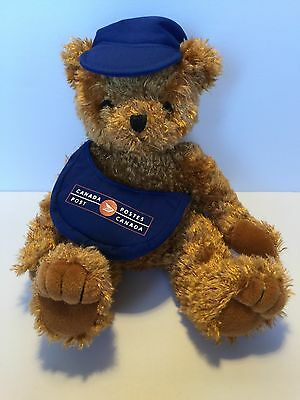 Vintage Hallmark CANADA POST Mail PLUSH TEDDY BEAR mailbag and hat Stuffed Brown