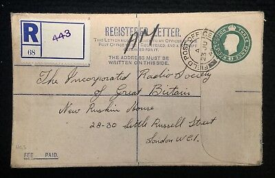 Rare 1945 Pre-Stamped Embossed Registered Letter P/m Field Po 443 Aust Forces