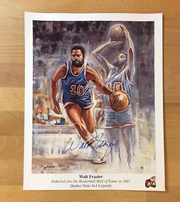 1987 Walt Frazier Knicks Signed Limited Edition Lithograph w/ COA PSA DNA (Rare)