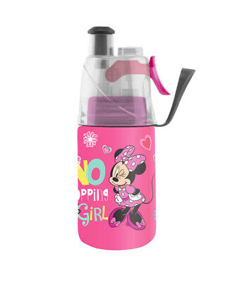 DISNEY 02Cool Insulated Mist N Sip Squeeze Water Bottle 12 oz. PINK MINNIE MOUSE