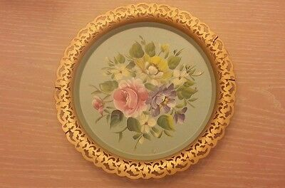 Nashco Products Round Tray Handpainted Signed VTG Tag NY
