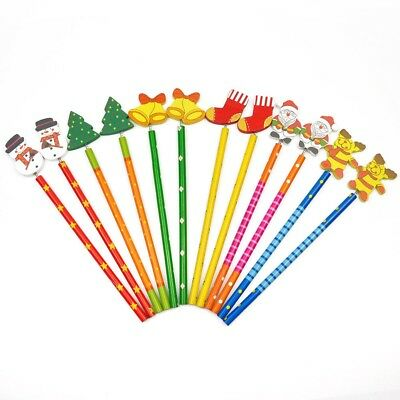 12 x Christmas Wooden Pencils Cartoon Animal Shaped Toppers Fun Stocking Fillers