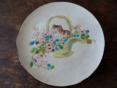 Antique French Gien Cat Basket And Flowers Plate Enamel Majolica