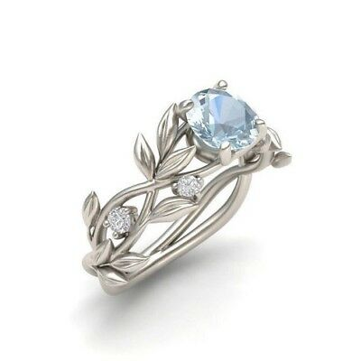 Elegant 925 Silver Ring 2.1Ct Aquamarine Gems Wedding Engagement Ring Size 6-10