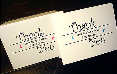 50 Personalized Note Cards Stationery for Baby Shower Thank You Notes, Custom