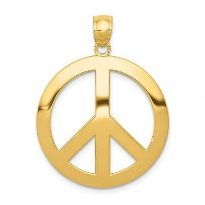 14K Yellow Gold Peace Sign Pendant 30x25mm 2.28gr