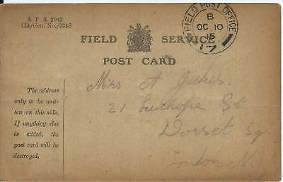GB 1915 WW1 Field Service Card from FPO 17 to Dorset Sq London