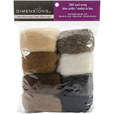 Dimensions Wool Roving - Earth Tones 8 Pack - Feltworks Value 28oz Tone