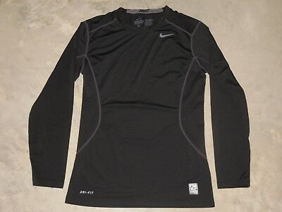 Nike Pro Combat Dri-Fit Fitted Long Sleeve LS Shirt Mens Small Black Athletic