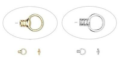 100 Silver OR Gold Plated Bead Crimps with Loop  / Finish Thin Chain or Wire