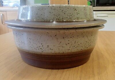 Vintage Purbeck Pottery Portland large stoneware casserole oven dish hotpot